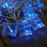 Гирлянда 3,8м холоднобелая Льдинки голубые кабель прозрачный 3м 20диодов LED indoor