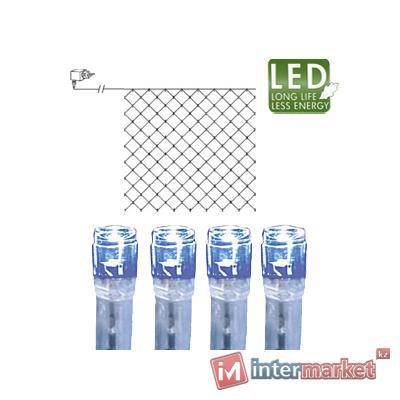 Гирлянда сетка 3х3м голубая кабель прозрачный 10м 180диодов LED outdoor